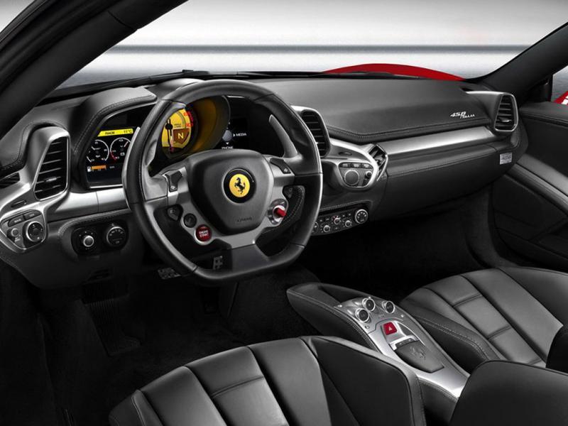 黑色法拉利458 italia驾驶室全景 法拉利458内饰图片高清图片