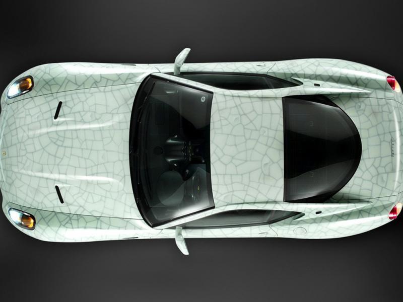 法拉利599白色2009款 艺术典藏跑车俯视 高清图片