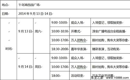 2014首届杭州千岛湖汽车文化节-观展须知